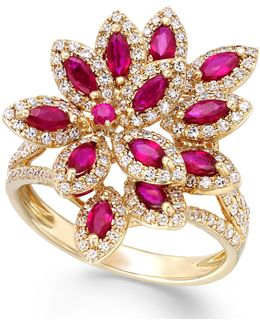 Ruby (1-3/8 Ct. T.w.) And Diamond (5/8 Ct. T.w.) Ring In 14k Gold