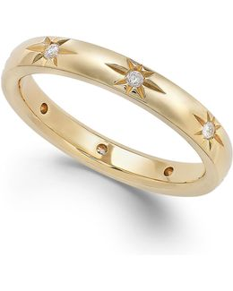 Diamond Star Wedding Band In 18k Gold (1/8 Ct. T.w.)