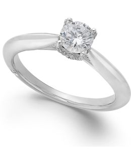 Certified Diamond Solitaire Engagement Ring In 18k White Gold (1/2 Ct. T.w.)