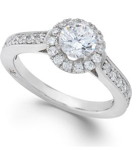 Certified Diamond Halo Engagement Ring In 18k White Gold (1-1/4 Ct. T.w.)