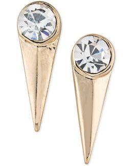 Gold-tone Crystal Spike Drop Earrings