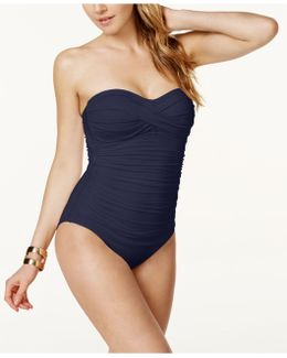 Twisted-front Bandeau One-piece Swimsuit