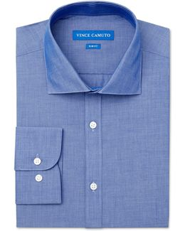 Slim-fit Chambray Solid Dress Shirt
