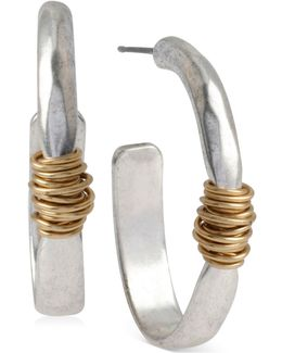 Two-tone Wire-wrapped Oval Hoop Earrings