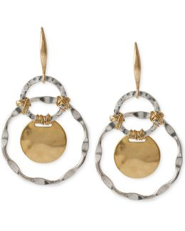 Two-tone Wire-wrapped Orbital Circle Drop Earrings
