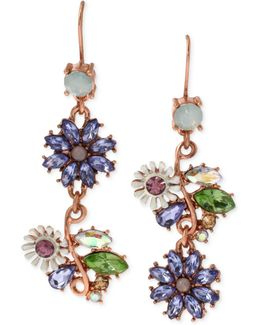 Xrose Gold-tone Faceted Bead Flower Mismatch Drop Earrings