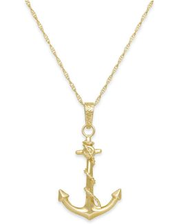 Men's Anchor Pendant Necklace In 10k Gold