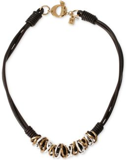 Two-tone Mixed Metal Ring Leather Frontal Necklace