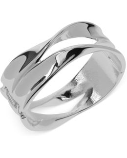 Silver-tone Sculptural Hinged Bangle Bracelet