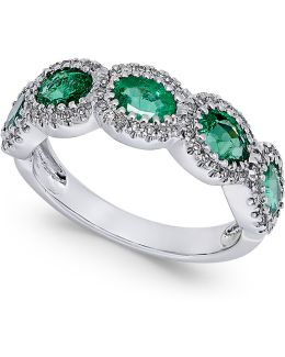 Emerald (1-1/10 Ct. T.w.) And Diamond (1/5 Ct. T.w.) Ring In 14k White Gold