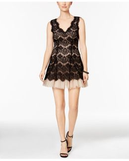 Lace-overlay Tulle A-line Dress