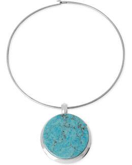 Silver-tone Semi-precious Turquoise Pendant Wire Necklace