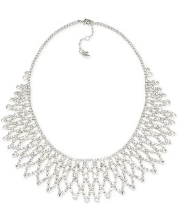 Silver-tone Crystal Bib Frontal Necklace