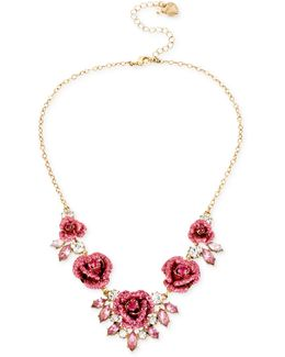Gold-tone Glitter Rose Frontal Necklace