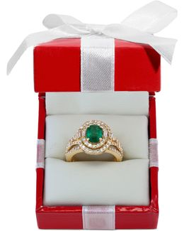 Emerald (1-1/7 Ct. T.w.) And Diamond (1-1/7 Ct. T.w.) Ring In 14k Gold