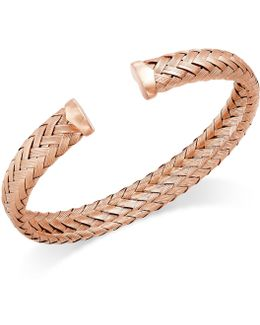 Woven Cuff Bracelet In 14k Rose Gold Over Sterling Silver