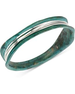 Silver-tone Wire-wrapped Patina Bracelet