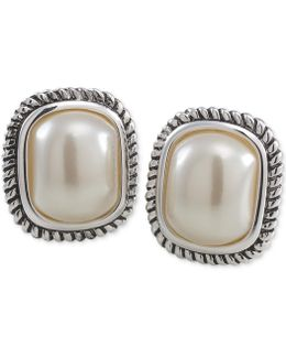 Silver-tone Large Imitation Pearl Stud Earrings
