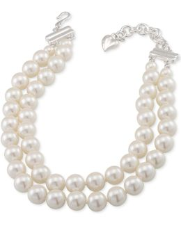 Silver-tone Imitation Pearl Adjustable Choker Necklace