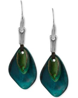 Silver-tone Layered Sculptural Patina Drop Earrings