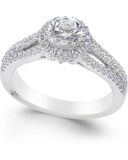 Diamond Halo Ring (1 Ct. T.w.) In 18k White Gold