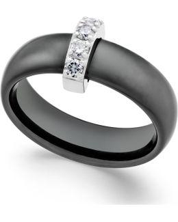 Diamond Ceramic Ring (1/5 Ct. T.w.) In Sterling Silver