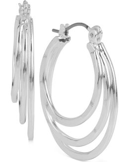 Silver-tone Triple Layer Hoop Earrings