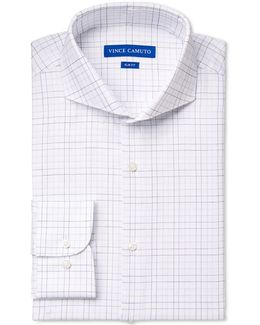 Slim-fit Blue Dobby Graphic Check Dress Shirt