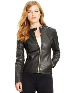 Faux-leather Moto Jacket, Black