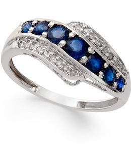 Sapphire (1 Ct. T.w.) And Diamond Accent Ring In 14k White Gold
