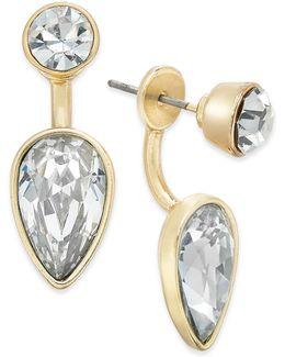 Gold-tone Crystal Earring Jacket Earrings