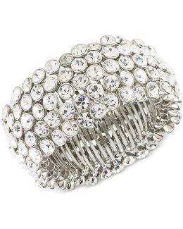 Silver-tone Crystal Stretch Bracelet