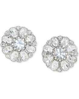 Silver-tone Crystal Button Clip-on Earrings