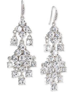 Silver-tone Crystal Double-drop Chandelier Earrings