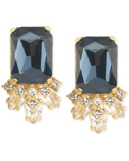 Gold-tone Blue Crystal Stud Earrings