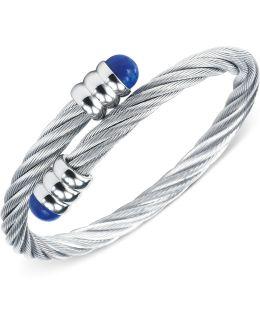 Silver-tone Lapis Lazuli Cable Bangle Bracelet