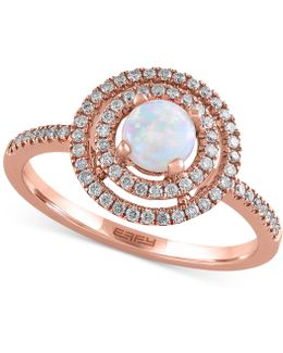Opal (3/8 Ct. T.w.) And Diamond (1/4 Ct. T.w.) Ring In 14k Rose Gold