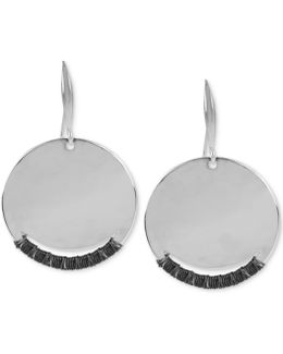 Silver-tone Wire Wrapped Disc Drop Earrings