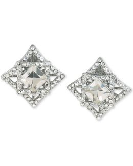 Silver-tone Geometric Crystal Clip-on Earrings