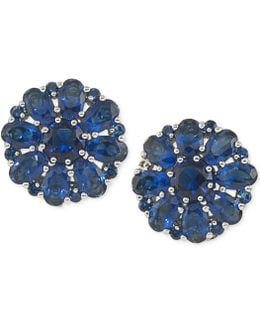 Silver-tone Blue Crystal Cluster Clip-on Earrings