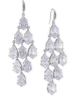 Silver-tone Crystal Chandelier Earrings