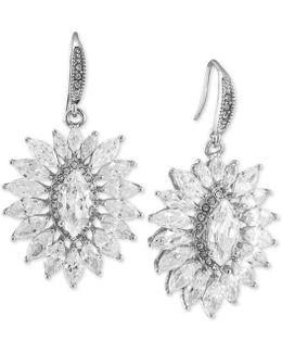 Silver-tone Crystal Sunburst Earrings
