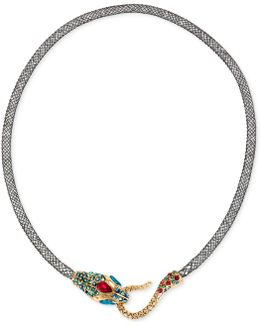 Gold-tone Mesh Crystal Snake Collar Necklace