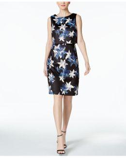 Floral-print Scuba Popover Dress