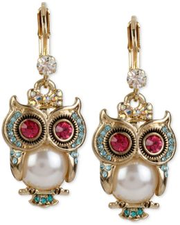 Gold-tone Ornate Owl Drop Earrings