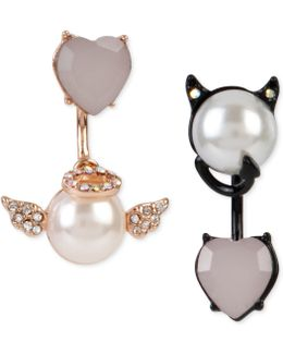 Two-tone Faux Pearl And Crystal Angel And Devil Front And Back Mismatch Earrings