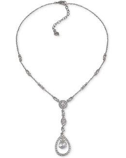 Silver-tone Crystal Pendant Y-necklace
