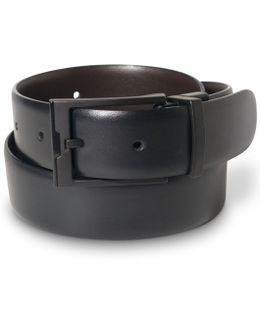 Matte Black Buckle Leather Belt