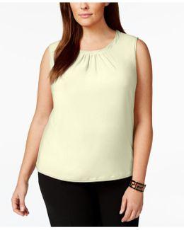 Plus Size Sleeveless Pleat-neck Top