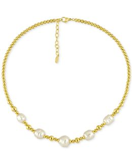 Gold-tone Baroque Imitation Pearl Collar Necklace